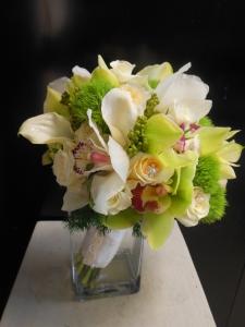 Tara's Bridal Bouquet with white callas and cymbidium orchids